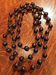 "African Dark Wood And Bead Necklace Tribal Art Handmade 48 """