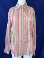 T.M. LEWIN Women's Pink Multi Stripe, 100% Cotton,Button Cuff Blouse. Size UK 14