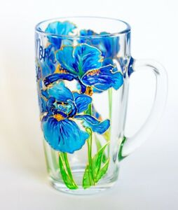 Blue Irises Coffee Tea Mug Hand Painted Floral Personalized Cup Women Grandma