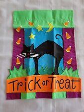 TOLAND HALLOWEEN TRICK or TREAT Applique Garden FLAG 12 x 15 NEW