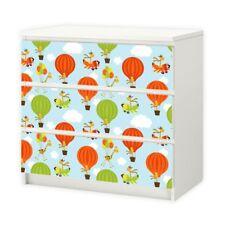 nikima - 012 Möbelfolie für IKEA MALM - Giraffe Ballon - 3 Schubladen Aufkleber