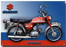 LGE A3 SIZE SUZUKI 1975 A50 CLASSIC MOPED ENAMELLED METAL SIGN.GARAGE SIGN.CC1