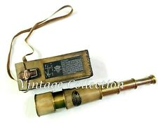"""20"""" Antique Maritime Brass Leather Telescope With Beautiful Leather Cover w Belt"""