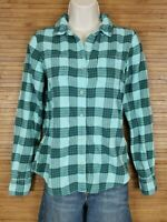 The North Face Blue Plaid Flannel Shirt Womens Size Small S EUC