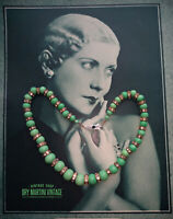 VINTAGE ART DECO BOHEMIAN CZECH PEKING JADE GLASS BEADS RONDELLE CHOKER NECKLACE