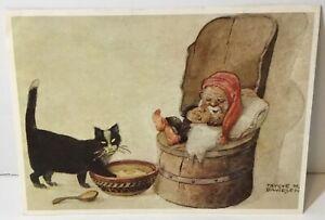VTG Caspari Christmas Card Trygve M Davidsen Norway Cat Tomte Elf Gnome Sleeps