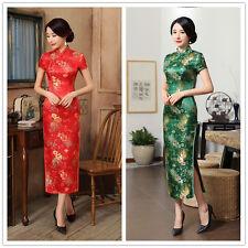 Red Vintage Women's girl Long Qipao Gown Cheongsam Wedding Evening Chinese dress