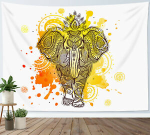 Watercolor Elephant Tapestry Indian Mandala Wall Hanging Home Bedspread Cover