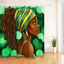 Afro Hairstyle African American Black Woman Shower Curtain Bathroom 12Hooks 72""