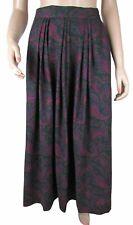 Laura Ashley Vintage Long Purple Paisley Pleated Skirt Sz 12 Cotton Wool Britain