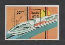 KAMPUCHEA 1989 TRAMS & TRAINS M/SHEET *VFU/CTO*