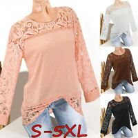 Fashion Women's Lace Patchwork Tops Long Sleeve Casual Loose Blouse Tee Shirts