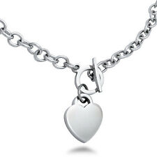 Stainless Steel Heart Charm Toggle Necklace 18 inches - FREE Engraving - SSN100