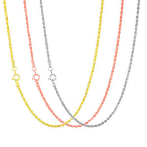 """10K Yellow, White or Rose Gold Womens 1.5mm Rope Chain Pendant Necklace 14""""- 26"""""""