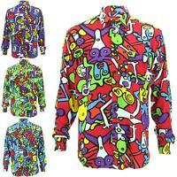 Mens Shirt Loud Originals Rayon SLIM FIT Long Sleeve TIFFY PRINT Retro Dance