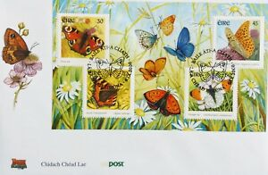 Ireland Stamps, First Day Cover, Butterflies Miniature Sheet - dated 6/9/2000