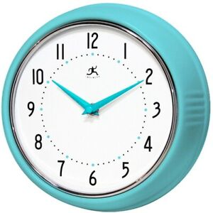 Infinity Instruments Wall Clock, Glass Lens, Second Hand, Silent - Turquoise