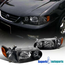 2001-2002 Toyota Corolla Replacement Black Headlights Amber Corner Signal Lamps