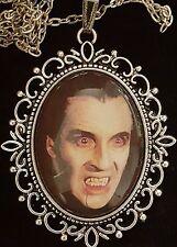 DRACULA Antique Silver Pendant Necklace Hammer Horror Christoper Lee 1958 Goth
