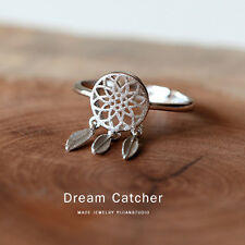 Feather Dreamcatcher 925 Silver Ring For Women Wedding Jewelry Open Finger Ring
