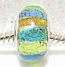 'TURQUOISE METALLICS ' Multi Stripe Foil Murano Glass European Bracelet Charm