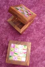 Fair Trade Mirror Mosaic Small Square wooden trinket pill box Beautiful Wood NEW
