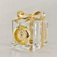 Miniature Crystal Gift Box Clock Hand Crafted Vintage Shelf Desk Decoration