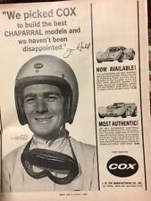 "1966 Jim Hall Cox Model Race Cars Gas Gasoline Chaparral 10"" 13"" Ad!"