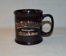 Mug Harley Davidson Motorcycles Milwaukee WI Black Silver Raised 3D Design 2002