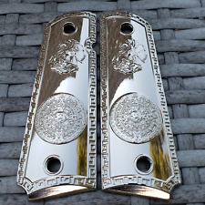 1911 Grips For Kimber / Colt / ROCK ISLAND Frames Aztec Eagle Nickel Plated
