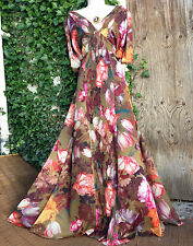 £180 Super RARE MONSOON Leandra: digital floral kaftan/kimono maxi dress 14