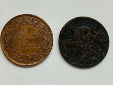 Two Love Tokens on 1800's Canadian Large Cent Coins Engraved and Counterstruck