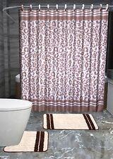 13Pc Angola Brown Leopard Printed Design Bathroom Fabric Shower Curtain Set Hook
