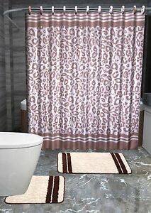 13PC ANGOLA BROWN LEOPARD Printed Design Bathroom Fabric Shower Curtain Set Hook