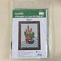 Basil vintage crewel embroidery kit 5111 Wonder Art plant herb floral new
