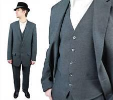 Vintage Three 3 Piece Suit 38L 40L 33x30 Blazer Vest Pants Dark Gray Haggar Sz M