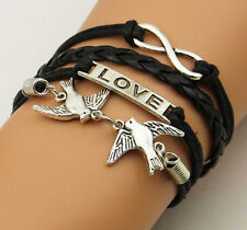 New Infinite Love Birds Fashion Leather Wrap Charms Bracelet Bangle
