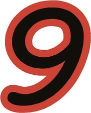 """x1 3"""" Race Number vinyl stickers (more in ebay shop) Style 1 Number 9 Black/Red"""
