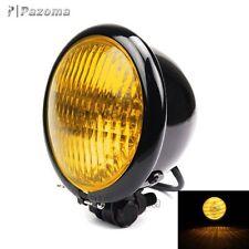 """Noire Vintage 4.5 """" Rond Phare de moto AVANT HAUT CROISEMENT lampe custom"""
