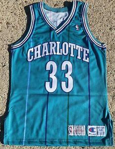 Alonzo Mourning 1993-1994 Charlotte Hornets Champion Pro Cut Auto Signed Jersey