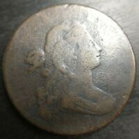 1798 Draped Bust Large Cent Style 2 Very Good VG / Fine F Dets EAC Cud Die Break