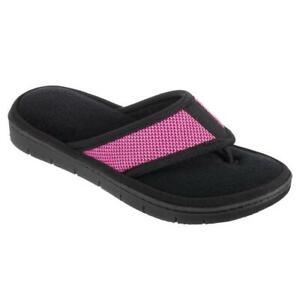 ISOTONER Women's Black & Berry Scout Mesh Thong House Slippers Sturdy Sole