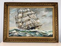Vintage Clipper Ship Nautical Seascape Oil Painting on Canvas Framed Signed Clar