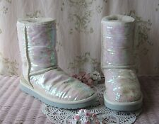 Rare! UGG *Sparkles I Do!* Sequin Suede Sheepskin Classic Short Boots Pink White