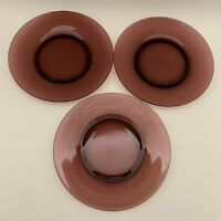 """Unbranded Purple or Brown Glass Salad Plates 8 1/2"""" Lot of 3"""