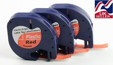 3 x tape cartridge 91203 red plastic 12mm by 4m for DYMO LETRATAG label makers