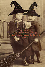 Vintage Halloween Witches Photograph Witch Babies and Brooms Antique Print