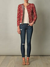 "ISABEL MARANT ""SUMAC"" Reversible Quilted Jacket SZ 36 Red Floral & Check"