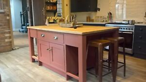 Painted kitchen island unit handmade 1850mm x 1070mm with/without oak worktop
