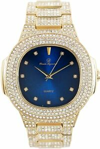 Men Iced Oblong Watch Bling Rapper Lab Simulate Diamond Gold Band Luxury Blue